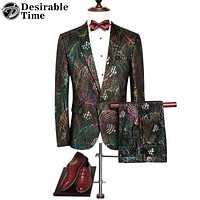 Men Colorful Sequin Suits with Pants New Fashion Luxury Wedding Party Suits