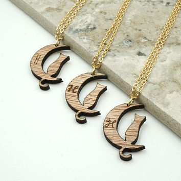 Personalized Custom Initial Kitty Cat Necklace Moon Luna Engraved Gold Chain Jewelry