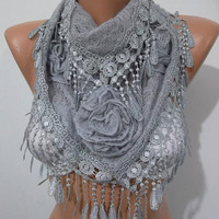 SCARVES  Gorgeous Scarf   Elegant and Classy  - Light gray