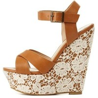 Lace-Covered Platform Wedge Sandals by Charlotte Russe