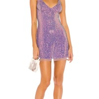 Free People Gold Rush Mini Dress Lilac