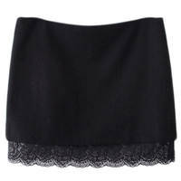 ROMWE | ROMWE Lace Panel Bodycon Black Skirt, The Latest Street Fashion