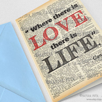 Where there is love there is life Gandhi quote Greeting Card-4x6 card-Love card-Valentine card-Gandhi card-design NATURA PICTA NPGC081