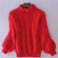 Fashion All-match Loose Thickened Turtleneck Long Sleeve Top Sweater Knitwear