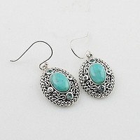 Blue Topaz & Turquoise Sterling Silver Earrings