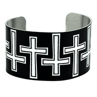 Black and White Gothic Cross Cuff Bracelet Metal Design Jewelry