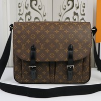 LV Men Leather Shoulder Bag Mens Satchel Tote Bag Handbag Shopping Leather Tote Crossbody Satchel Shoulder Bag