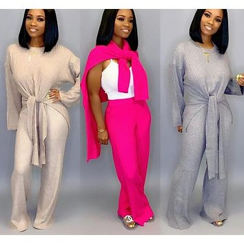 Women Casual Two Piece Knit Long Sleeve Front Tie Top Loose Pant Set