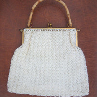 60s Shimmering White Crochet Purse w/ Brass Frame and Bamboo Handle // Vintage Crochet Bag // Wedding Purse