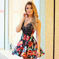 Black Floral Print Lace Patchwork Dress