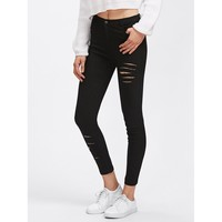 Go With The Flow Rips Skinny Pants - Black