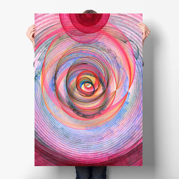 Fibonacci Spiral Poster Download - Abstract Nursery Art Print - Colourful Vortex Poster Art | Playroom Decor by Mila Tovar