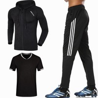 2018 Men Running Sets 3 pieces/sets Compression Sports Suits Basketball Jacket shirts and Pants Clothes Gym Fitness Jogging