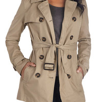 ModCloth Menswear Inspired Long Long Sleeve Double Breasted Classic and Chic Trench in Khaki