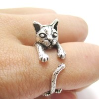 Detailed Kitty Cat Shaped Animal Wrap Ring in Silver | US Sizes 7 to 10