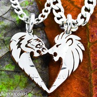 Lion and Tigress His and Hers Couples Coin Necklaces