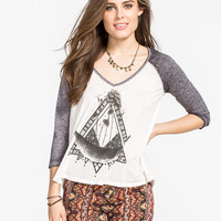 Billabong Moon Scraper Womens Baseball Tee White/Grey  In Sizes