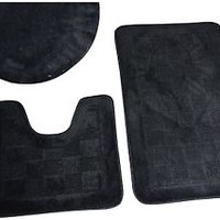 Checkered 3 Piece Bathroom Shower Rug Set - Bath Mat, Contour, Cover ALL COLORS