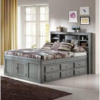 Elizabeth Gray Full Size Captains Bed with Storage Drawers