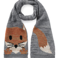 Knitted Fox Intarsia Scarf | Grey | Accessorize