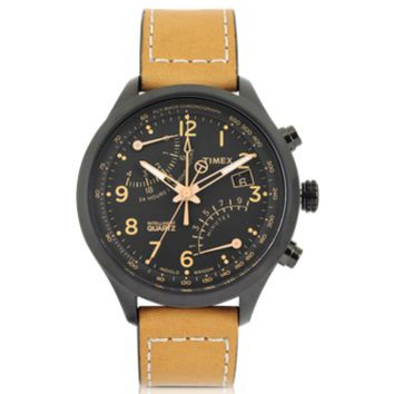 Timex Designer Men's Watches Fly Back Chrono Black Stainless Steel Case and Tan Leather Strap Men's Watch