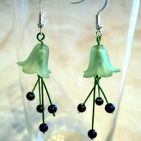 "Dangly Pierced Earrings ""Lily"" Green and Purply Blue Flowers"