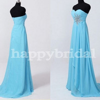 Long Blue Beaded Prom Dresses Chiffon Bridesmaid Dresses Party Dresses Homecoming Dresses 2014 Wedding Occasions