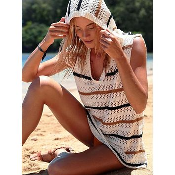 Knitting Split-joint With Hat Cover-Up Tops