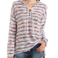 Lace-Up Hooded Baja Sweatshirt by Charlotte Russe - Multi