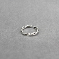 S925 Contracted Thai silver twist braid female restoring ancient ways ring