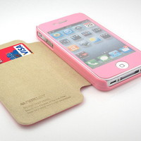 GNJ Premium Pink suede diary pouch flip case cover + Pink film for iPhone 4 4S