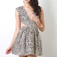 Spotted Leopard Print Skater Dress
