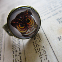 Vintage Owl Cabochon Ring by DubiousDesign on Etsy