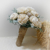 Rustic Woodland Bouquet with Sola Flowers, Burlap, Birch Bark, Rustic, Woodland, Country, Bohemian Style Weddings. Made to Order.