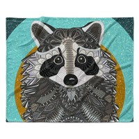 "Art Love Passion ""Racoon in Grass"" Gray Teal Fleece Throw Blanket"