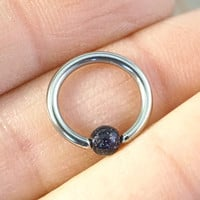 14g 16g 18g Blue Goldstone Septum Ring Cartilage Hoop Belly Button Jewelry