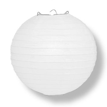 "BULK PACK (5) 8"" White Round Paper Lantern, Even Ribbing, Chinese Hanging Wedding & Party Decoration"