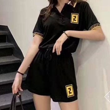 """FENDI"" Woman's Leisure  Fashion Letter Printing Spell Color Long Short ShortsTwo-Piece Set Casual Wear"