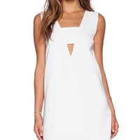 State of Being Deep V-Neck Tank Dress in White