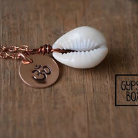 Yoga Ohm & Cowrie Shell Copper Wire Wrapped Necklace