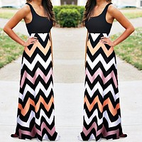 Fashion hot selling sexy women's color billowy dresses striped dresses (Only 1 piece) #3