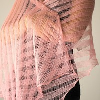 Knit lace shawl, knit wrap in soft pink color, gift for her