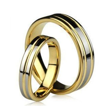 19KGP Tungsten Engravable Korean Couple Ring Set - Couple Wedding Rings - Couples Gift Ideas Rhinestones iPhone 5 4S 3GS Cases, Couple Necklaces / Wedding Rings & Uncommon Gift Ideas - Worldwide Shipping