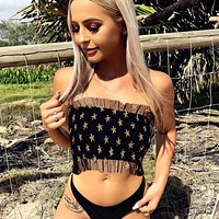 Stylish Hot Beach Comfortable Summer Bralette Spaghetti Strap Bra Wrap Sexy See Through Lace Camisole Vest [1298762039412]