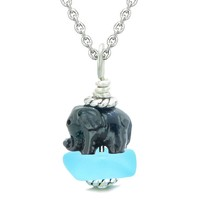 Sea Glass Sky Blue Frosted Cloud Black Elephant Lucky Charm Magic Amulet Pendant 18 Inch Necklace