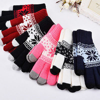 2016 New Warm Winter Pattern Gloves Knitted Touch Gloves Men Women Gloves Touch Screen Glove