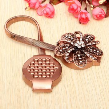 1pc Crystal Flower Magnetic Retractable Window Curtain Clips Tie Backs Magnetic Curtain Clips Holdbacks For Home Decorarion