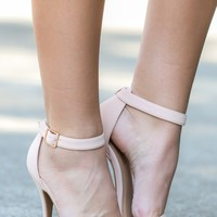 Totally Timeless Nude Ankle Strap Heels