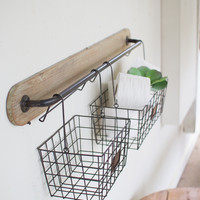 Wood & Metal Wall Bracket with 2 Wire Baskets