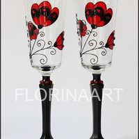 Gothic, Gothic Wedding Glasses, Gothic design, Black and Red, Gothic Goblets, Wedding,